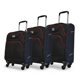 Adrienne Vittadini 3-Piece Luggage Set- Black With Red Piping