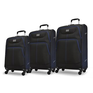Adrienne Vittadini 3-Piece Luggage Set- Black With Royal Piping
