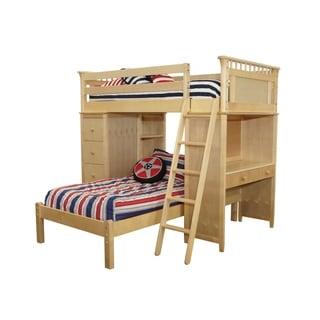 Bennington SSS Natural Loft Bed with Desk, Bookcase, Drawers and Lower Platform Bed