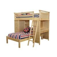 Bennington SSS Loft Bed with Desk, Bookcase, Drawers and Lower Platform Bed, Natural