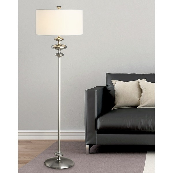 HomeTREND Mercury Silver Metal/White Fabric Shade Floor Lamp
