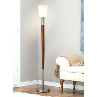 HomeTREND Manhattan Brushed Nickel/Walnut Finish Wood/White Shade 72.5-inch H Torchier Floor Lamp