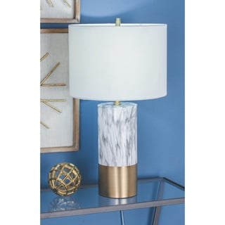 Urban Designs White and Gold Column Ceramic Table Lamp (Set of 2)