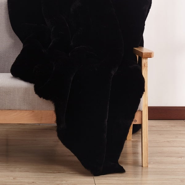 Solid Black Faux Fur Area Rug with Suede Backing - 5' x 7'