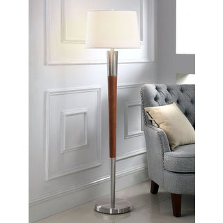 HomeTREND Manhattan Brushed Nickel/Walnut Finish Wood 62.5-inch H Floor Lamp