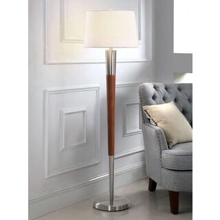 HomeTREND Manhattan Brushed Nickel/Walnut Finish Wood 62.5-inch H Floor Lamp