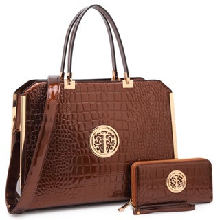 Dasein Rolled Handle Croco Briefcase/ Satchel with Matching Wallet (More options available)