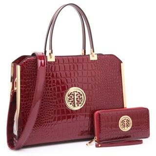 Dasein Rolled Handle Croco Briefcase/ Satchel with Matching Wallet (Option: Wine)