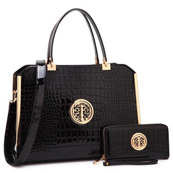 Dasein Rolled Handle Croco Briefcase/ Satchel with Matching Wallet