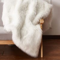 Solid Ivory White Faux Fur Area Rug with Suede Backing - 5' x 7'