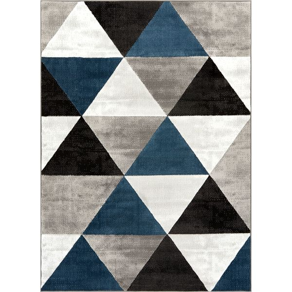 Well Woven Crystal Mid Century Modern Blue Black Grey Geometric Area Rug