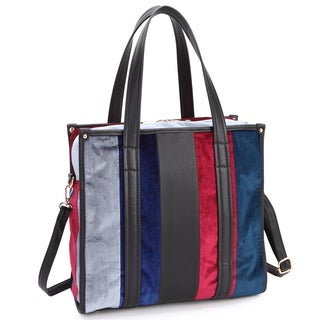 Dasein Faux Leather Velvet Multi-Colored Large Tote Bag