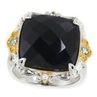 Michael Valitutti Palladium Silver Cushion Black Onyx, White Sapphire & Blue Zircon Ring