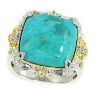 Michael Valitutti Palladium Silver Cushion Amazonite, White Sapphire & Blue Zircon Ring