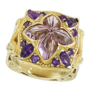 Dallas Prince Sterling Silver Mosaic Floral Pink & African Amethyst Ring