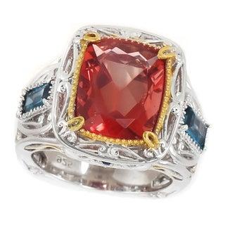 Michael Valitutti Palladium Silver Red Fluorite, London Blue Topaz & Blue Sapphire Ring