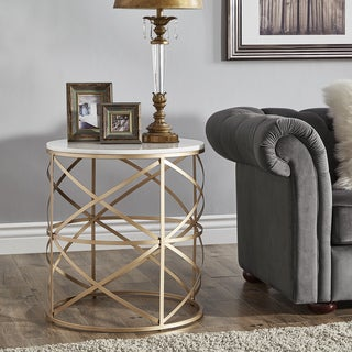 Paisley Round Gold End Table with Marble Top by iNSPIRE Q Bold