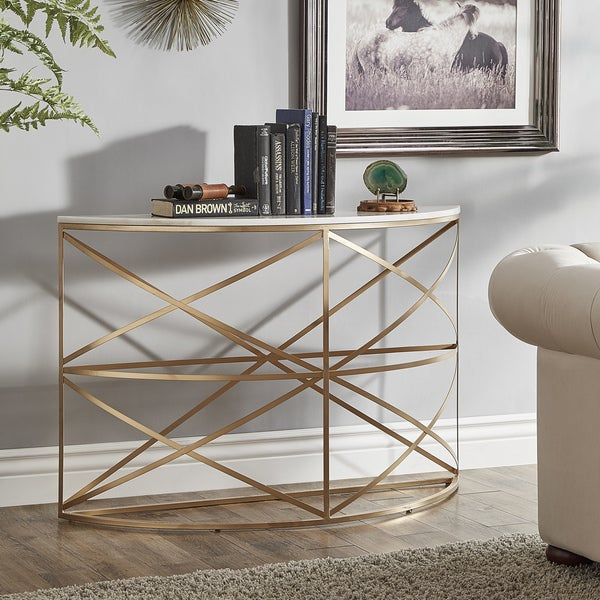 entryway tables rustic paisley rounded gold entryway table with marble top by inspire bold shop