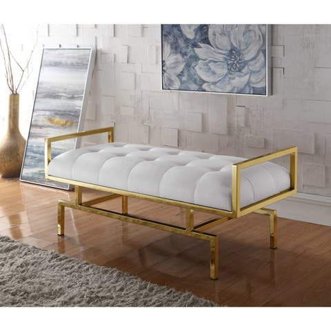 Chic Home Katharine PU Leather Modern Contemporary Tufted Seating Goldtone Metal Leg Bench