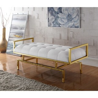 Chic Home Katharine PU Leather Modern Contemporary Tufted Seating Goldtone Metal Leg Bench (3 options available)