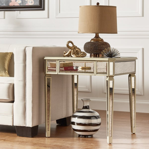 Clara Antique Gold 1-drawer Mirrored End Table by iNSPIRE Q Bold
