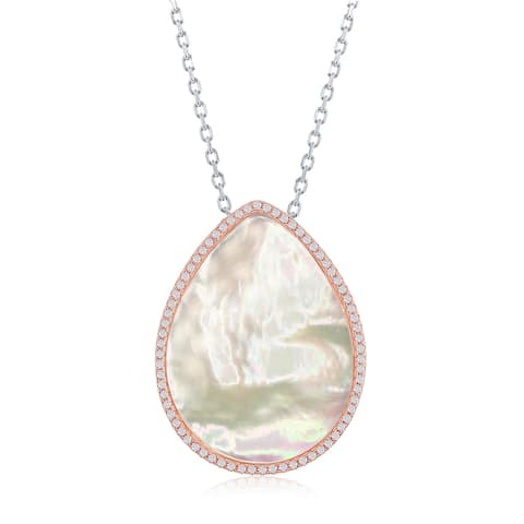 La Preciosa Sterling Silver Rose Gold Teardrop Mother Of Pearl W/ Cubic Zirconia Border 16+2'' Necklace - rose gold