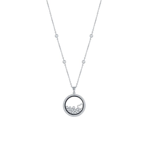Sterling Silver Rhodium-plated Hearts /& Floating Glass Beads Pendant