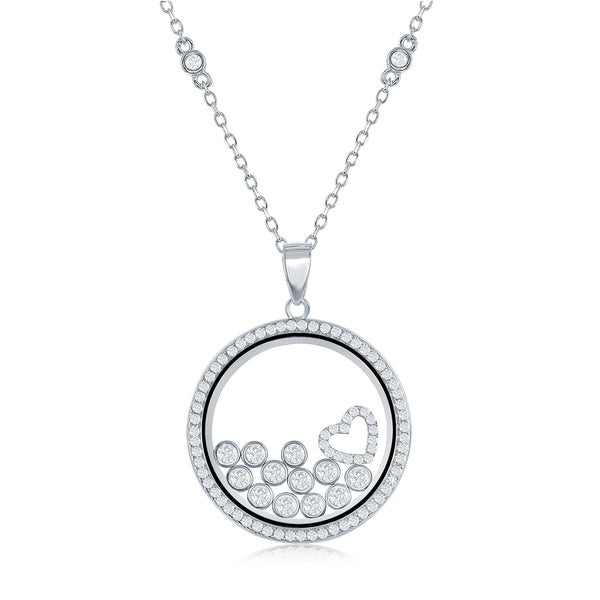 Sterling Silver Jewelry Pendants /& Charms Polished CZ Heart Pendant