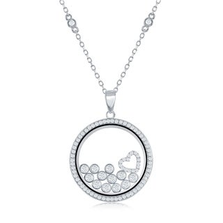 La Preciosa Sterling Silver Floating Heart & Cubic Zirconia Charms in Transparent Disc 16+2'' CZ by Yard Necklace