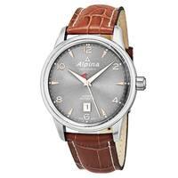 Alpina Men's AL-525VG4E6 'Alpine' Grey Dial Brown Leather Strap Swiss Automatic Watch