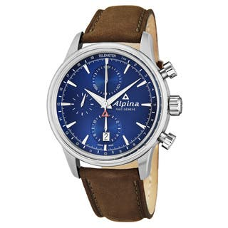 Alpina Men's AL-750N4E6 'Alpine' Blue Dial Brown Leather Strap Chronograph Swiss Automatic Watch|https://ak1.ostkcdn.com/images/products/17954436/P24131926.jpg?impolicy=medium