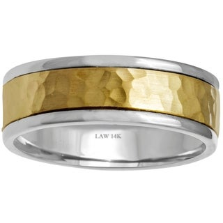 14k Two-Tone Gold Hammered Comfort Fit Men's Wedding Bands - Yellow