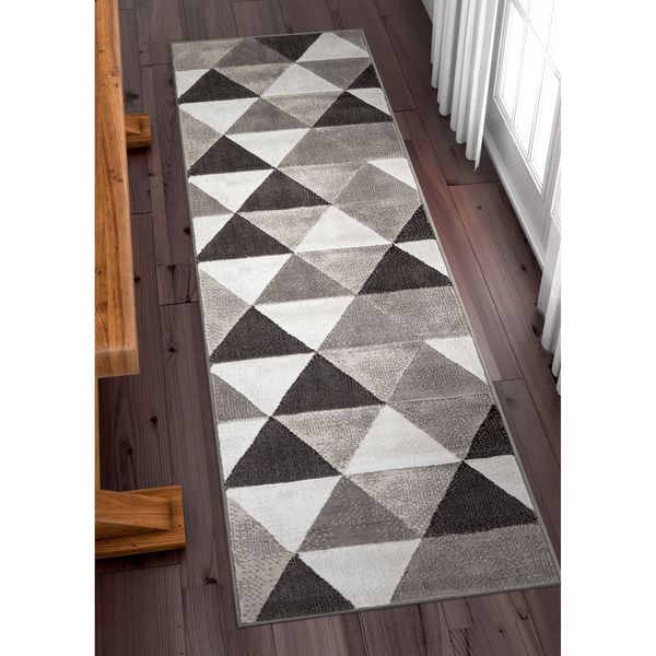 Well Woven Crystal Mid-Century Modern Grey Runner Rug - 2' x 7'3""
