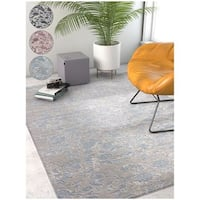 Well Woven Modern Abstract Blue/ Dark Grey Soft Area Rug - 5'3 x 7'3