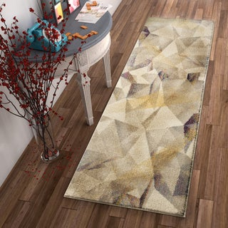 Well Woven Modern Geometric Beige Runner Rug (2'3 x 7'3)