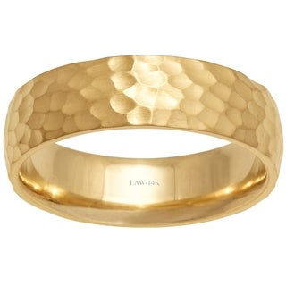 Link to 14k Yellow Gold 6mm Hammered Comfort-fit Men's Wedding Bands Similar Items in Wedding Rings
