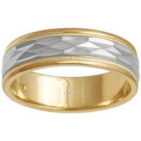 14k Two-Tone Gold Faceted Comfort Fit Men's Wedding Bands - White