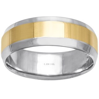 14k Two-Tone Gold Flat Bevel Comfort Fit Men's Wedding Bands - Yellow