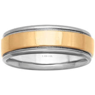 14k Two-Tone Gold Flat Milgrain Comfort Fit Men's Wedding Bands - Yellow