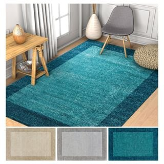Well Woven Modern Distressed Ombre Border Antimicrobial Stain-resistant Area Rug (5'3x7'3)