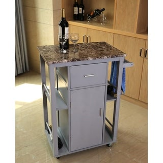 Wooden Kitchen Island on Wheels, Heavy Duty Rolling Casters
