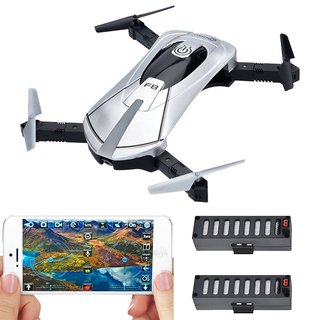 F8 Wifi FPV Camera Folding, Pocket-sized Selfie Drone With Voice Controls, Altitude Hold, Path Control, Two Batteries (Silver)