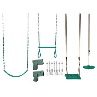 Swingan Diy Swing Set Kit - With Belt Swing, Trapeze Bar, Disc Swing And Standing Swing Wood Beams Not Included - Green