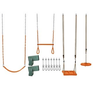 Swingan Diy Swing Set Kit - With Belt Swing, Trapeze Bar, Disc Swing And Standing Swing - Wood Beams Not Included - Orange