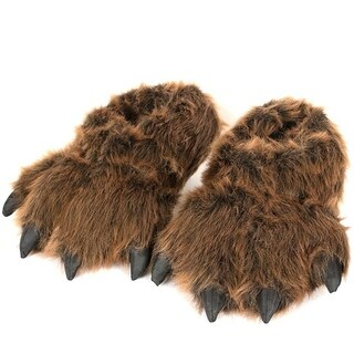 """12"""" Furry Grizzly Bear Slippers"""