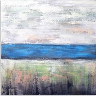 Blue horizon original oil painting on canvas - 40 x 40