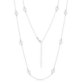 La Preciosa Sterling Silver High Polish Silver or Rose Tone Mesh CZ by the Yard 33+2'' Necklace