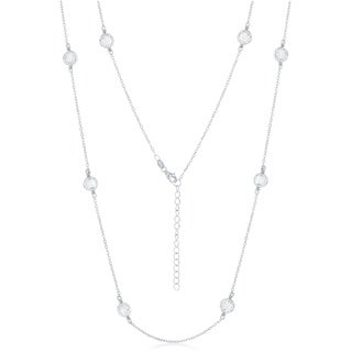 La Preciosa Sterling Silver High Polish Silver or Rose Tone Mesh CZ by the Yard 33+2'' Necklace