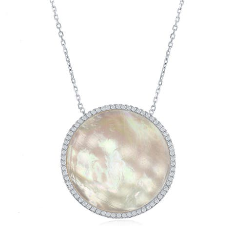 La Preciosa Sterling Silver High Polish Silver or Rose Tone Mother of Pearl Disc W/Cubic Zirconia Border Necklace