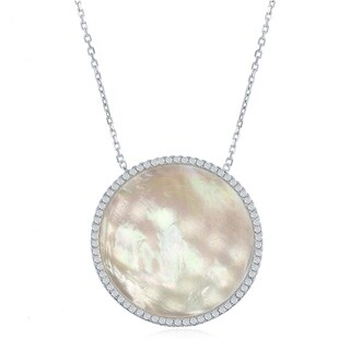 La Preciosa Sterling Silver High Polish Silver or Rose Tone Mother of Pearl Disc W/Cubic Zirconia Border Necklace